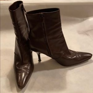 Tod's Leather pointy toe Chocolate boots SZ 37.5